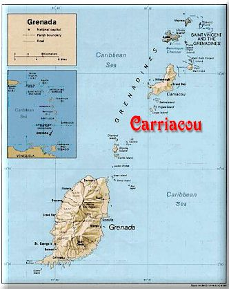 Image map of Carriacou's location in the Southern Caribbean